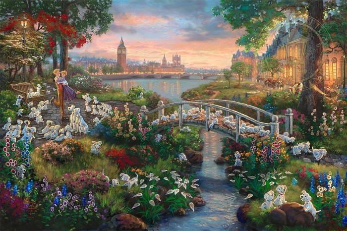Thomas Kinkade Disney101 DalmatiansGiclee On Canvas