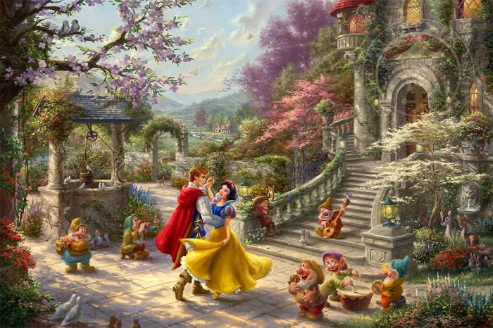 Thomas Kinkade DisneySnow White Dancing in the SunlightGiclee On Canvas