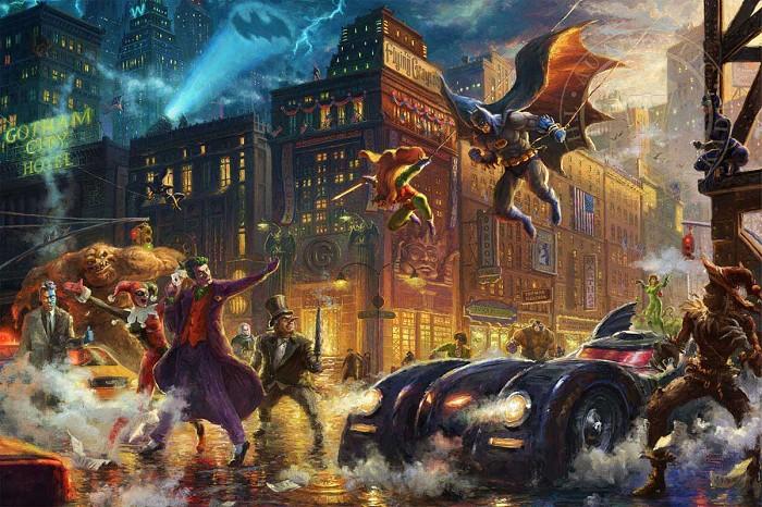 Thomas Kinkade DC ComicsThe Dark Knight Saves Gotham CityGiclee On Canvas Artist Proof