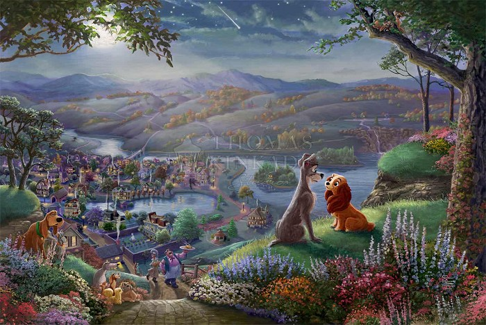 Thomas Kinkade Disney Lady And The Tramp Falling In Love Giclee On Canvas