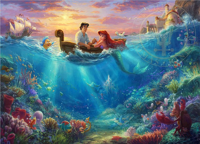 Thomas Kinkade Disney Little Mermaid Falling In Love Giclee On Paper