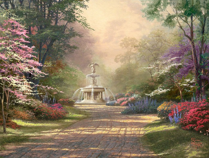 Thomas Kinkade Fountain of Blessings Giclee On Paper
