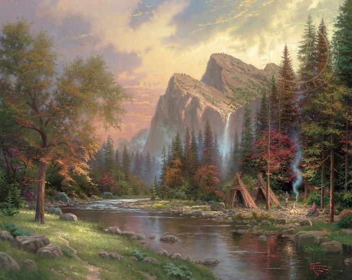 Thomas KinkadeThe Mountains Declare His GloryGiclee On Canvas