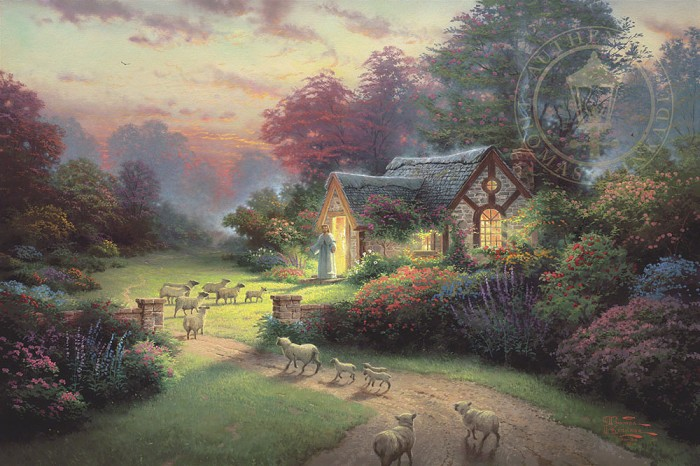 Thomas Kinkade The Good Shepher's Cottage Giclee On Canvas Artist Proof