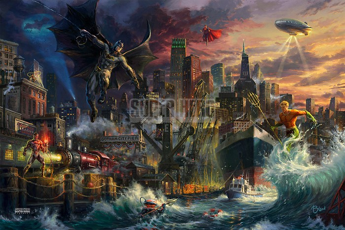 Thomas Kinkade DC Comics Justice League Showdown At Gotham City Pier Giclee On Canvas Artist Proof