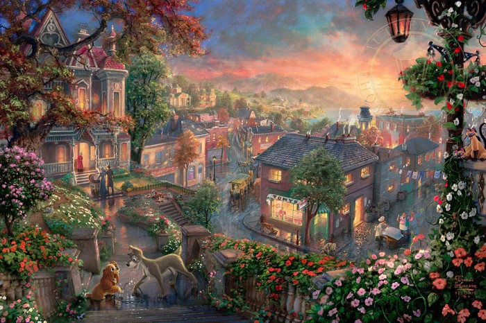 Thomas Kinkade Disney Lady and the Tramp Giclee On Paper