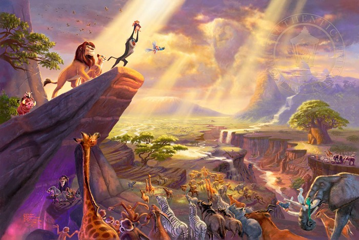 Thomas Kinkade Disney The Lion King Giclee On Paper