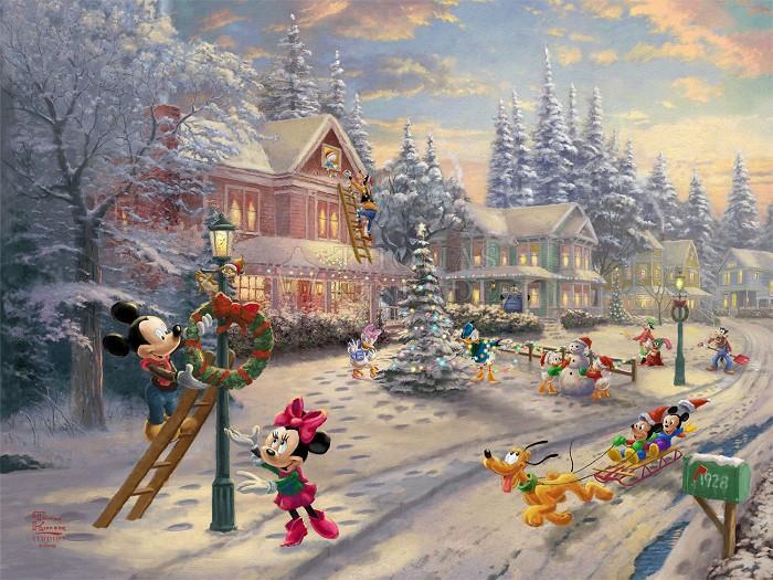 Thomas Kinkade DisneyMickey's Victorian ChristmasGiclee On Paper