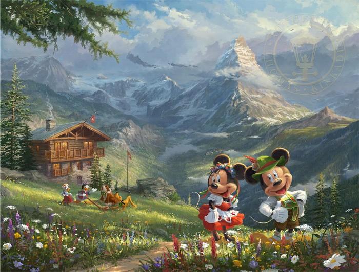 Thomas Kinkade DisneyMickey & Minnie In The AlpsGiclee On Canvas