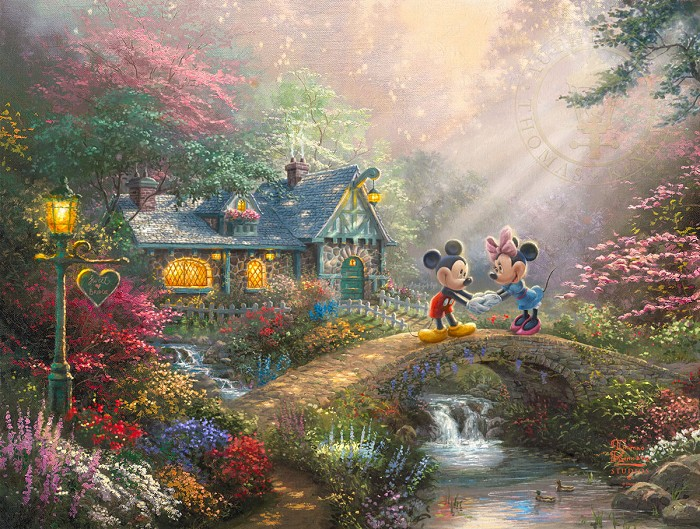 Thomas Kinkade DisneyMickey and Minnie - Sweetheart BridgeGiclee On Paper Artist Proof