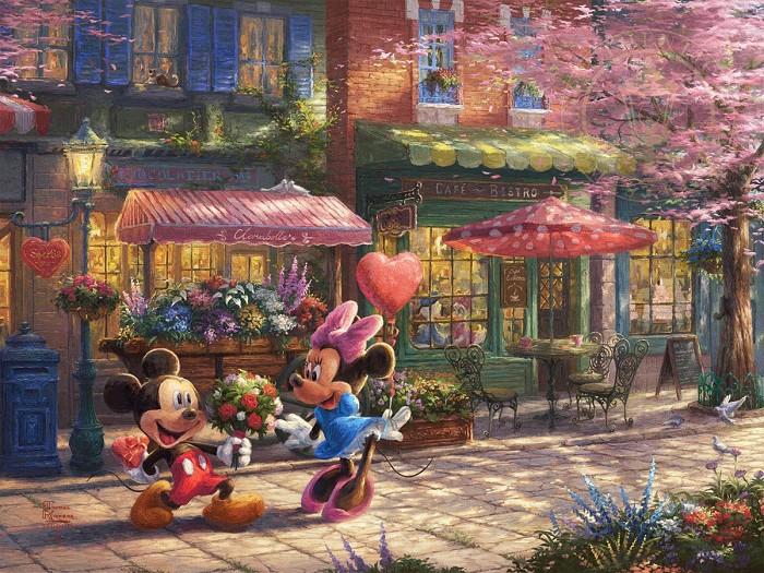 Thomas Kinkade DisneyMickey and Minnie - Sweetheart CafeGiclee On Canvas