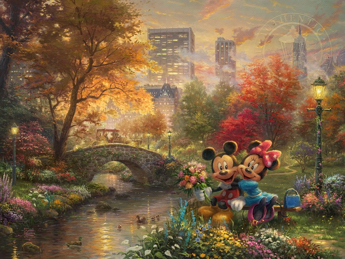 Thomas Kinkade DisneyMickey and Minnie - Sweetheart Central ParkGiclee On Canvas