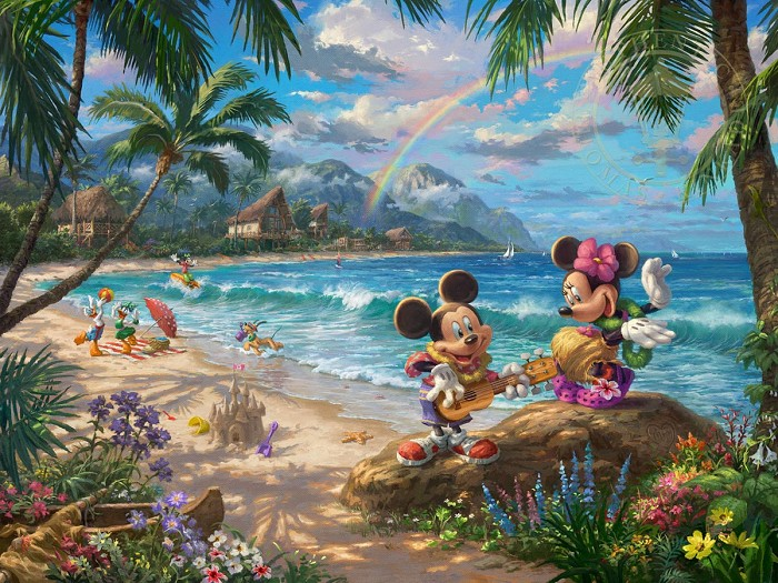 Thomas Kinkade Disney Mickey & Minnie in Hawaii Giclee On Paper