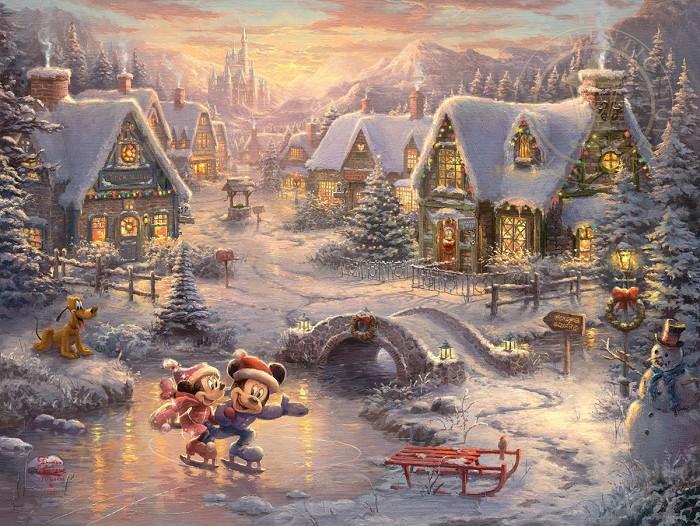 Thomas Kinkade DisneyMickey and Minnie - Sweetheart HolidayGiclee On Canvas