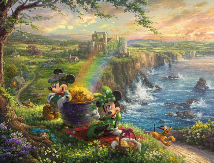 Thomas Kinkade Disney Mickey & Minnie In Ireland Giclee On Paper