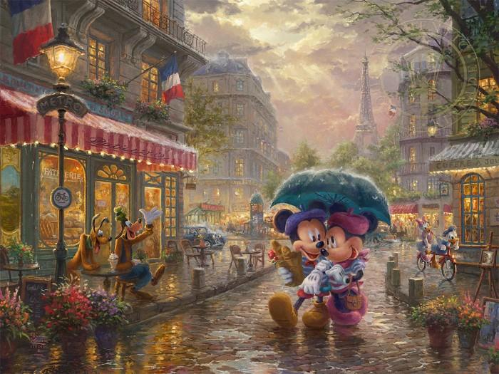Thomas Kinkade DisneyMickey & Minnie In ParisGiclee On Paper