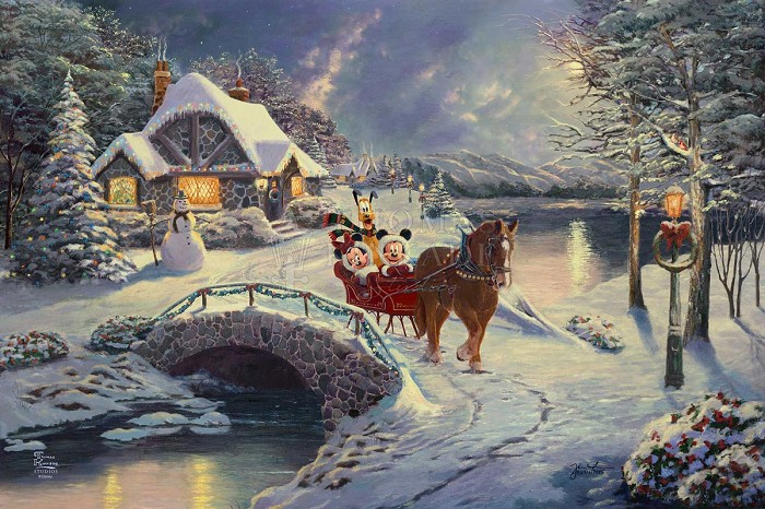 Thomas Kinkade Disney Mickey and Minnie Evening Sleigh Ride Giclee On Canvas