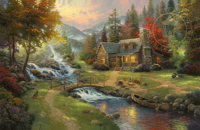 Thomas KinkadeMountain ParadiseGiclee On Canvas