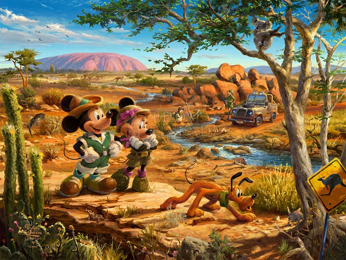 Thomas Kinkade DisneyMickey & Minnie In The OutbackGiclee On Paper