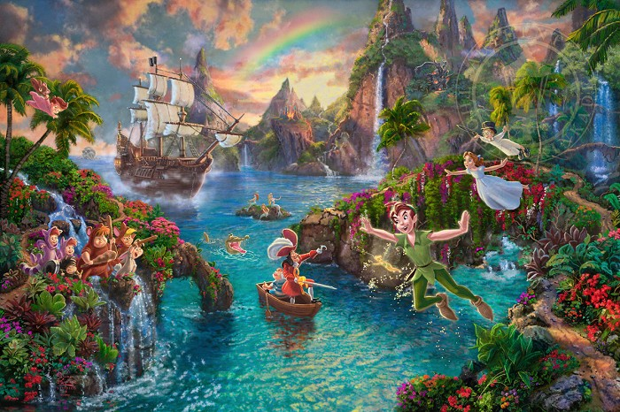 Thomas Kinkade Disney Peter Pan's Neverland Giclee On Paper