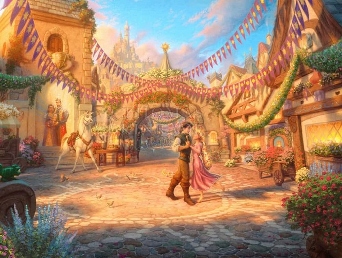 Thomas Kinkade DisneyRapunzel - Dancing in the Sunlit CourtyardGiclee On Paper