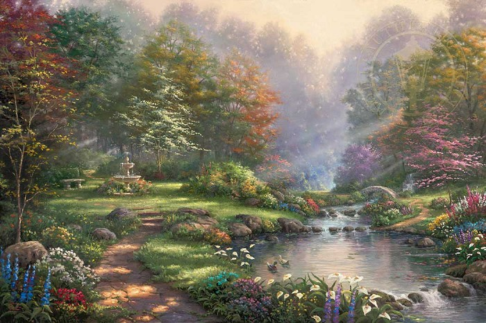 Thomas Kinkade Reflections Of Faith Giclee On Canvas Artist Proof