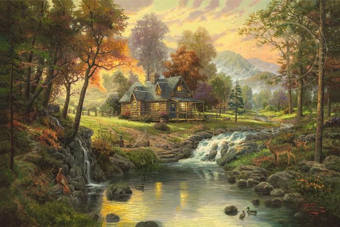 Thomas KinkadeMountain RetreatGiclee On Canvas Artist Proof