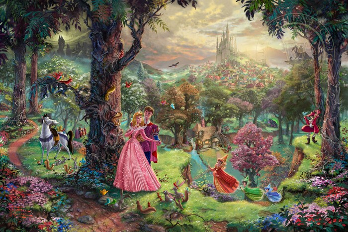 Thomas Kinkade Disney Sleeping Beauty Giclee On Canvas Artist Proof