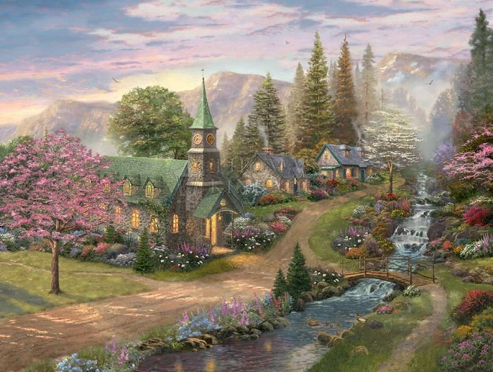 Thomas Kinkade Sunday Morning Chapel Giclee On Canvas Artist Proof
