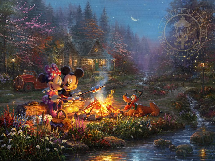 Thomas Kinkade Disney Mickey and Minnie - Sweetheart Campfire Giclee On Paper