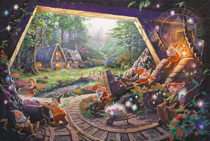 Thomas Kinkade DisneySnow White and the Seven DwarfsGiclee On Canvas