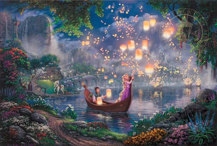 Thomas Kinkade DisneyTangledGiclee On Canvas Artist Proof