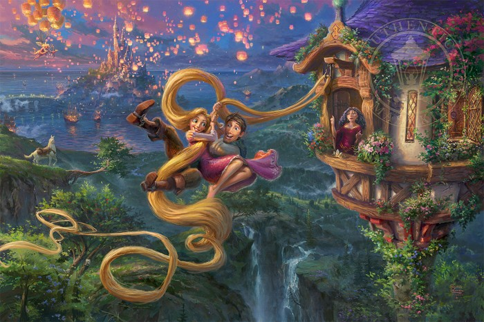 Thomas Kinkade Disney Tangled Up in Love Giclee On Canvas