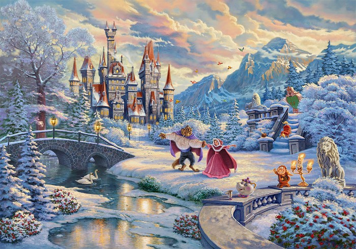 Thomas Kinkade DisneyBeauty And The Beast's Winter EnchantmentGiclee On Paper