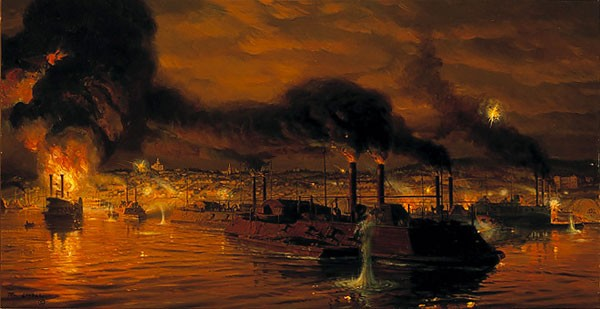 Tom Lovell Union Fleet Passing Vicksburg Limited Edition Print
