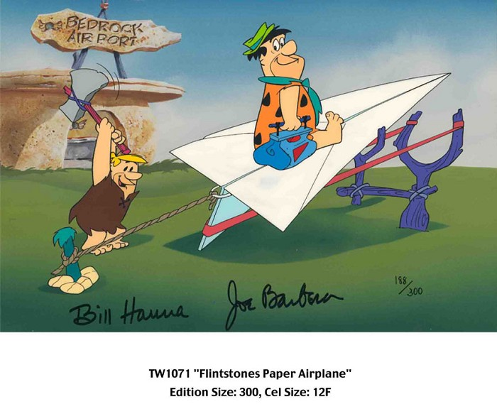 Hanna & Barbera Flintstones Paper Airplane From The Flinstones Hand-Painted Limited Edition Cel