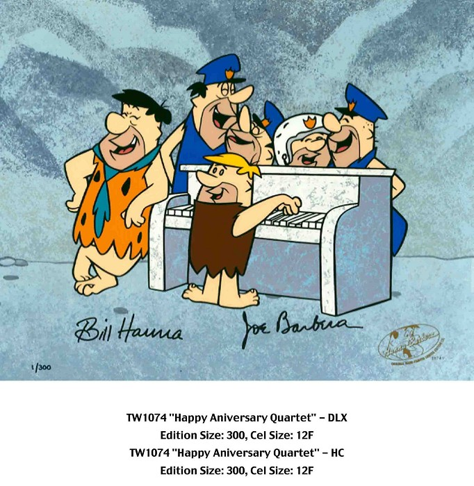 Hanna & BarberaHappy Anniversary Quartet From The FlinstonesHand-Painted Limited Edition Cel
