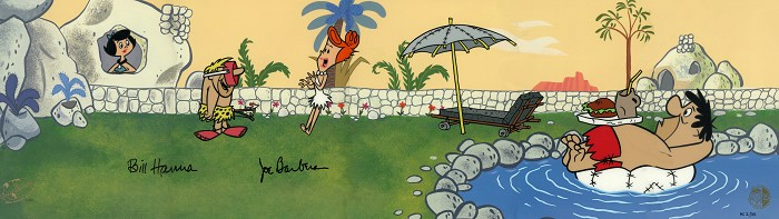 Hanna & Barbera Swimming Pool From The Flintstones Hand-Painted Limited Edition Cel