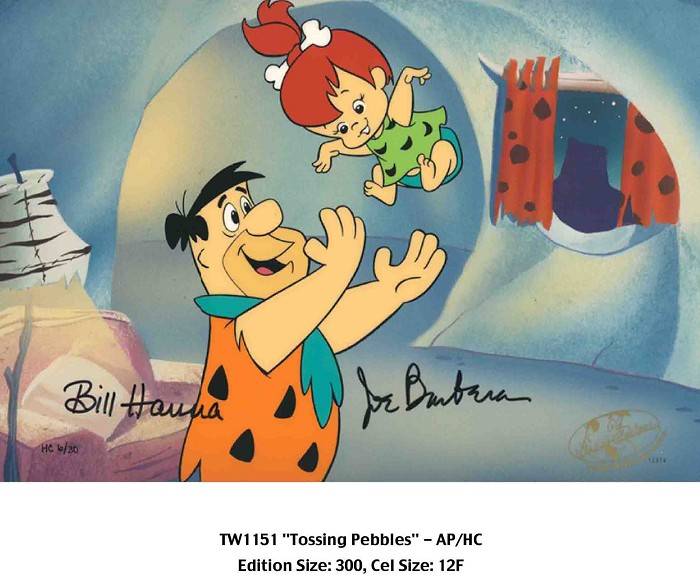 Hanna & Barbera Tossing Pebbles From The Flinstones Hand-Painted Limited Edition Cel