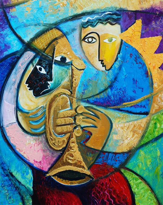 (Twin) Jerry Lynn and Terry Lynn The Trumpet Giclee On Canvas