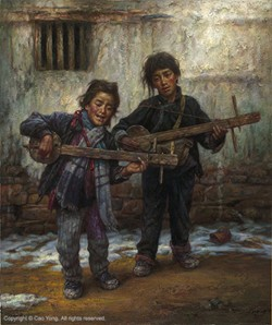 Cao Yong The Children Sang Old Song Artist Proof Giclee On Canvas Artist Proof The Tibet Series