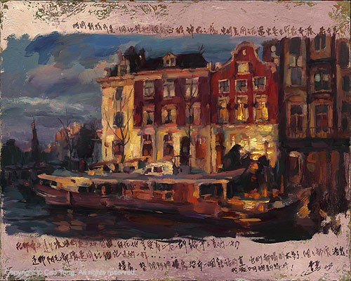 Cao Yong Thoughts Of Amsterdam Giclee On Canvas The Venice Series