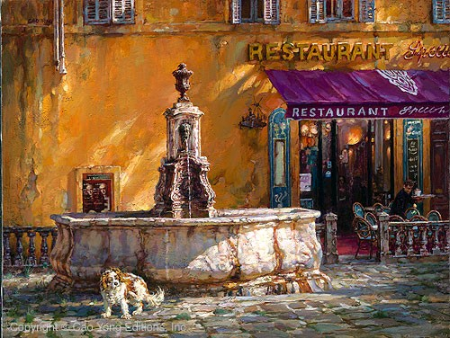 Cao Yong Town Square Tuscany Giclee On Canvas The Mediterranean Series