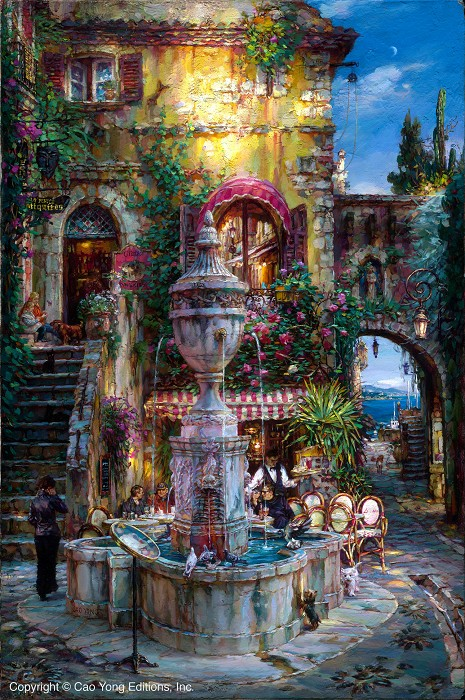 Cao Yong Twilight By The Fountain Giclee On Canvas The Mediterranean Series