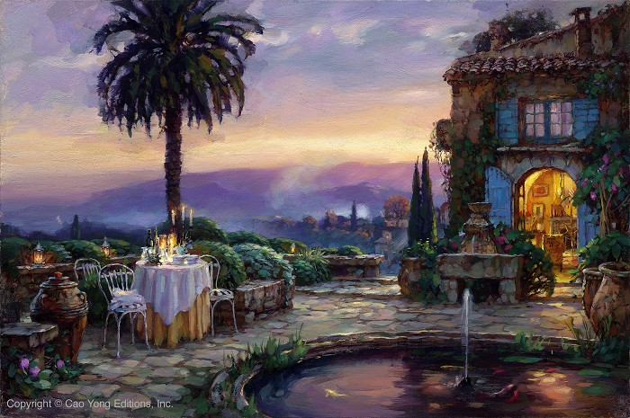 Cao Yong Villa Encantada Giclee On Canvas The Mediterranean Series