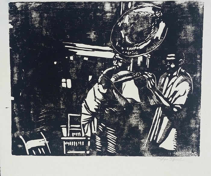 William Tolliver New Orleans Duo Artist Signed Mono Type On Paper