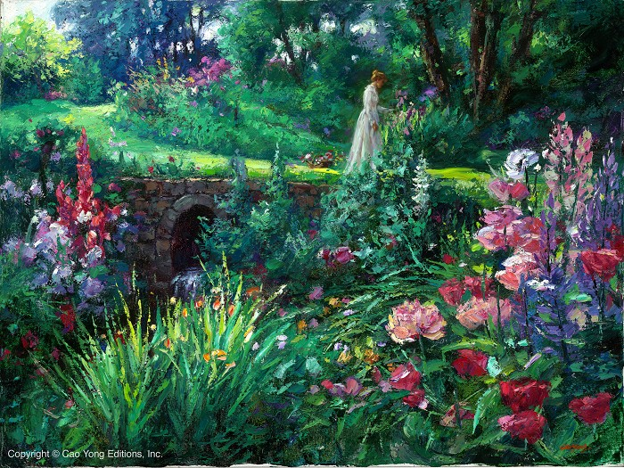 Cao Yong A Walk In The Garden Giclee On Canvas The Romantic Garden Series