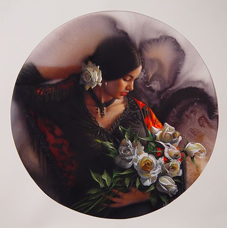 Lee Bogle White Roses Artist Proof Hand Enhanced Giclee On Canvas
