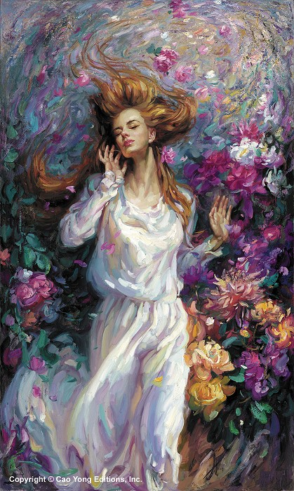 Cao Yong Winds Of Love Artist Proof Giclee On Canvas Artist Proof The Romantic Garden Series