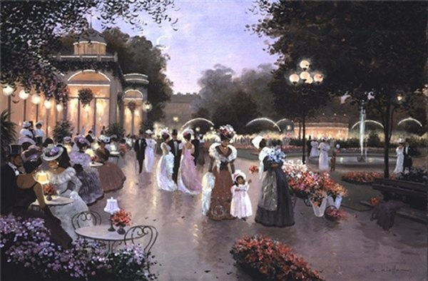 Christa Kieffer A Stroll By Moonlight By Christa Kieffer Canvas  Signed & Numbered